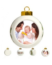 CD - Z04 - Ceramic Noel and Holly Leaf Ball Ornament