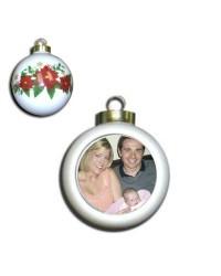 CD - Z05 - Ceramic Poinsettia Ball Ornament