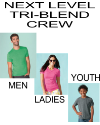 Next Level Apparel Tri-blend Crew - Mens-6010/Ladies-6710/Youth-6310
